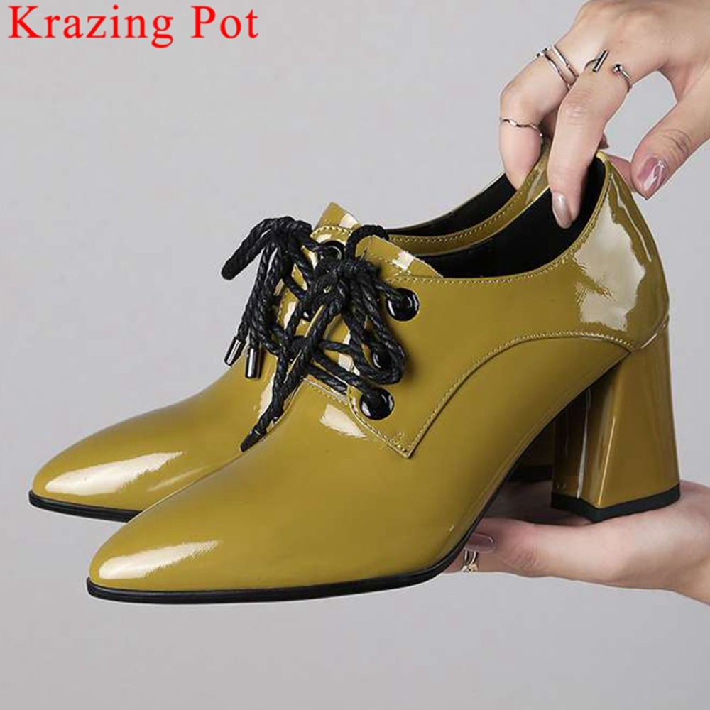 2019 new arrival oxford pointed toe natural leather lace up shallow pumps high heels European superstars