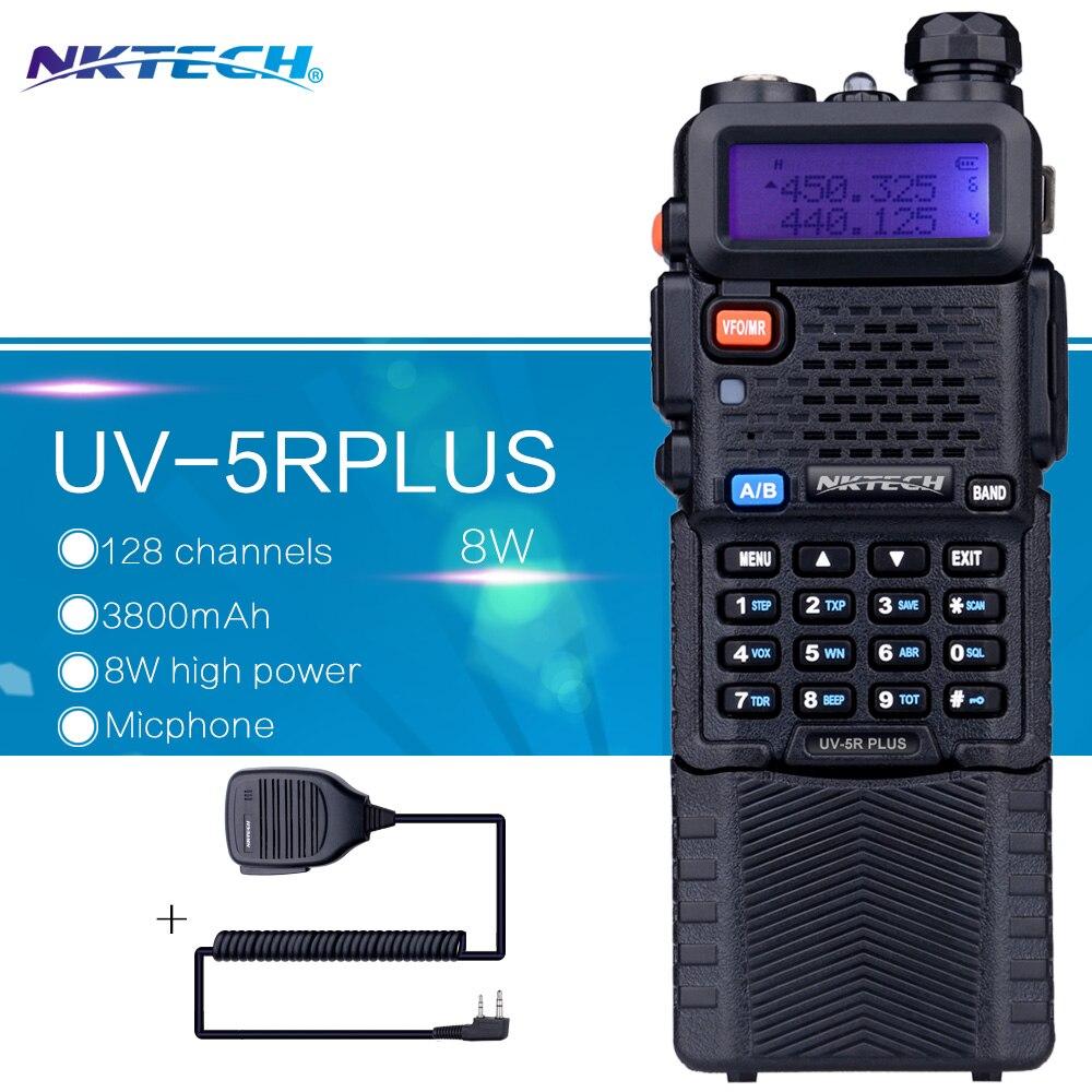 imágenes para NKTECH Walkie-talkie Baofeng UV5R UV-5R PLUS 8 W VS batería Grande 3800 MAH Transceptor VHF/UHF de Doble Radios + 1 Micrófono Altavoz Remoto