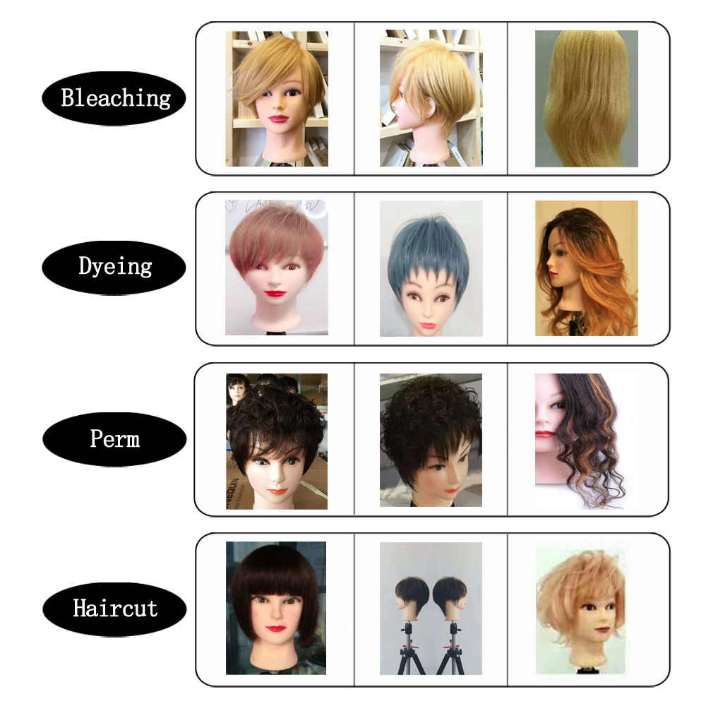 Mannequin Head With 12inch 100% Real Human Hair Cosmetology Hairdresser Training Head Manikin Perm Bleaching Dyeing Haircut