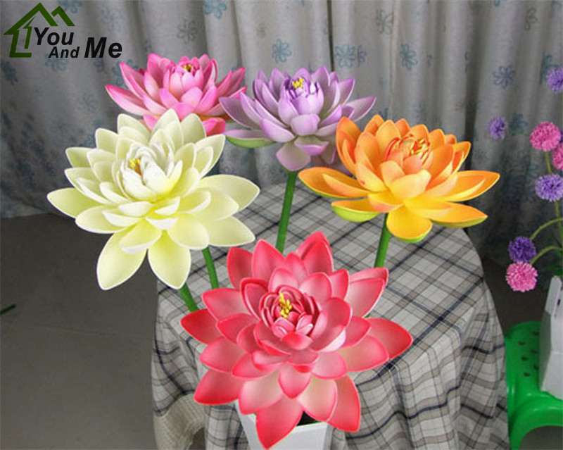 1Pc 16cm Artificial EVA Lotus Flower With Long Stem Aquarium Fish Pond Scenery Garden Pool Decorative