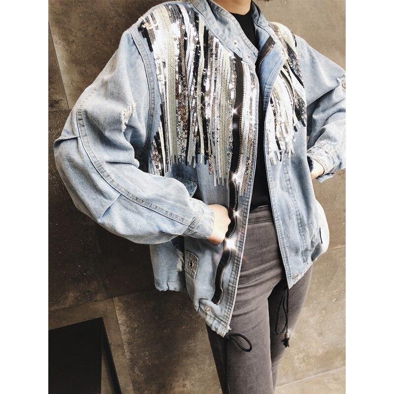 Sauvage Lâche 2018 Trou Blue Casual Femmes Tops Splice Harajuku Superaen Denim Paillettes Nouvelle Automne Vestes Femme Mode 1Sfq7