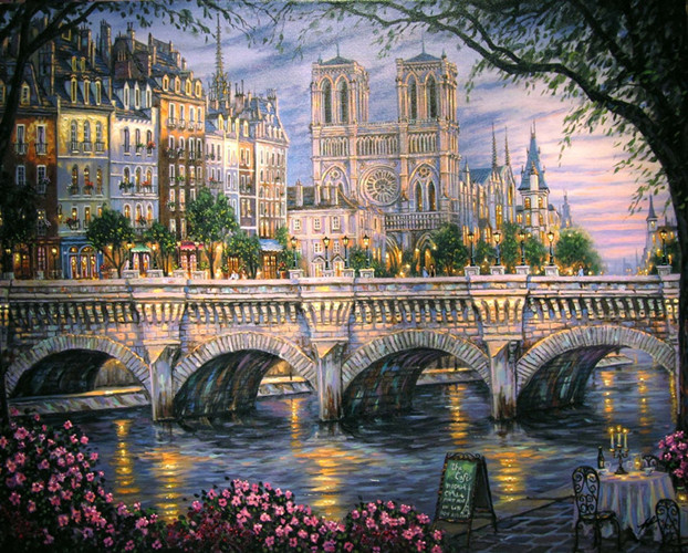 free shipping classical Thomas river bridge light city scenery canvas prints oil painting printed on canvas decoration picture