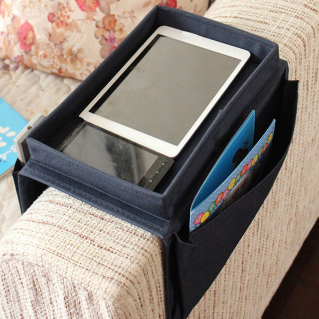 Oxford Cloth Pouch Multilayer Arm Rest Chair Settee Couch Novelty 6 Pockets Sofa Remote Control Table