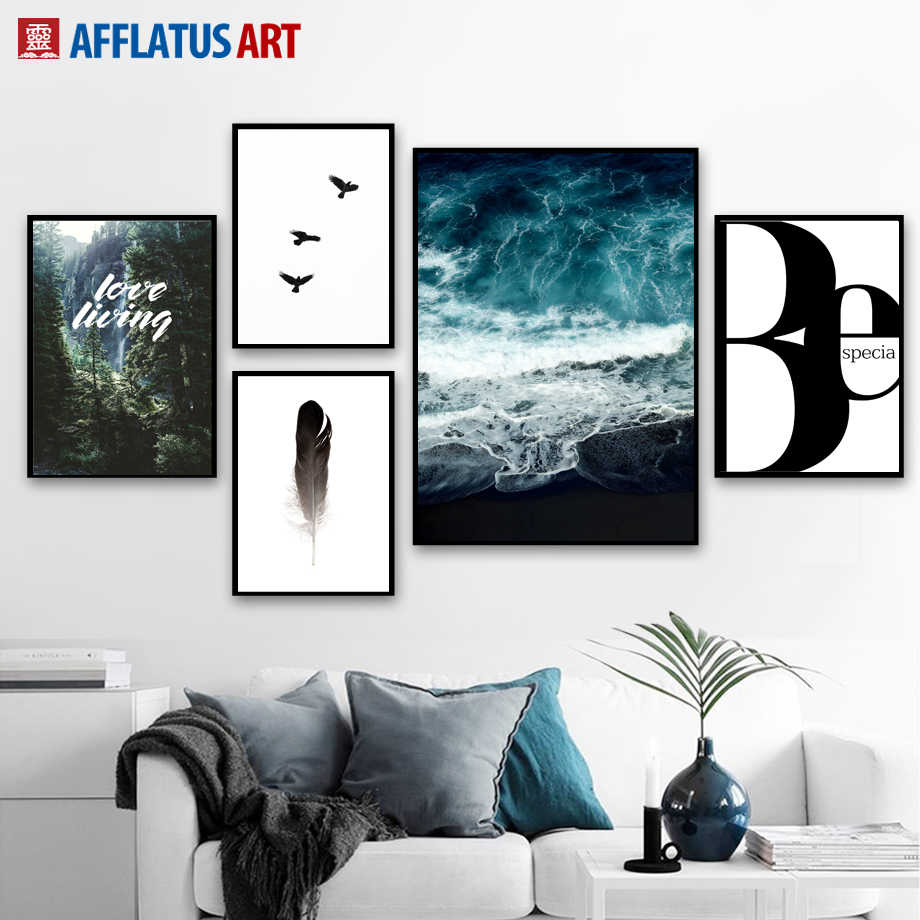 Forest Blue Ocean Quote Landscape Wall Art Canvas Painting Posters And Prints Nordic Poster Wall Pictures For Living Room Decor