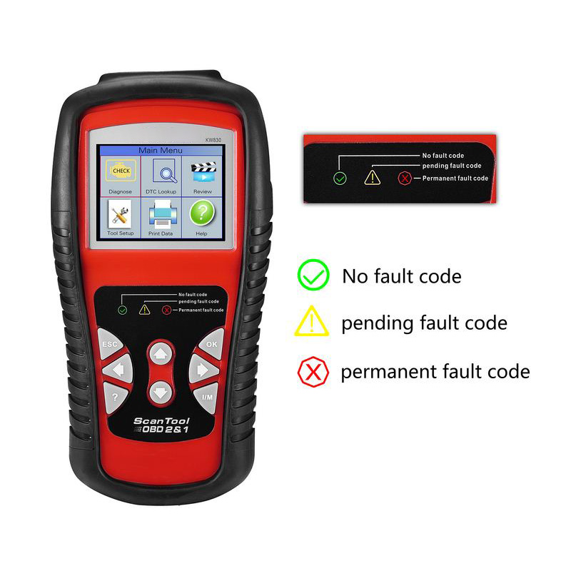 Image 5 - Portable Car Diagnostic Tools KW830 OBDII EOBD Auto Scanner TFT Color Display 10 OBDII Test Modes Car Vehicle Diagnostic Tool-in Battery Measurement Units from Automobiles & Motorcycles