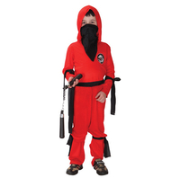 Free Shipping Super Handsome Red Ninja Warrior Costumes Halloween Party Costume Game Performance Clothing For Kids