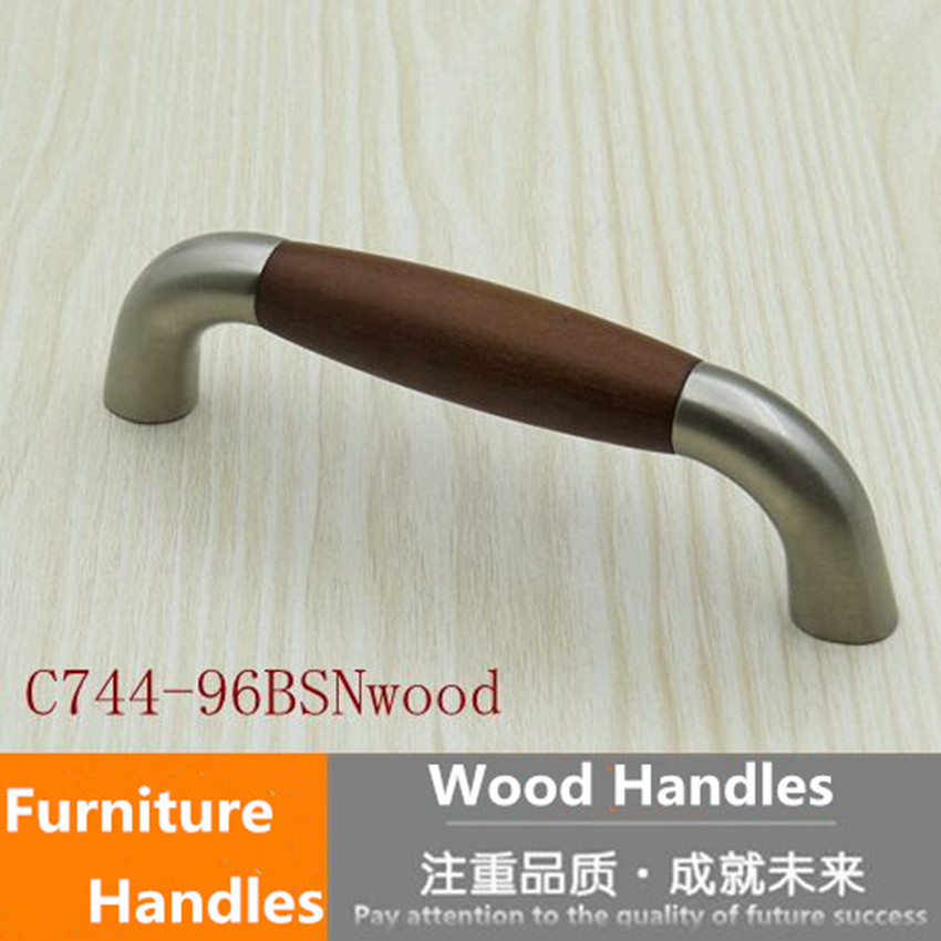 96mm wooden kitchen cabinet drawer pull knob stain silver brushed nickel dresser cupboard handle american style