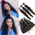 Loose Wave With Frontal Closure 13x4 Lace Frontal Closure With Bundles Curly Weave Human Hair Brazilian Virgin Hair With Closure