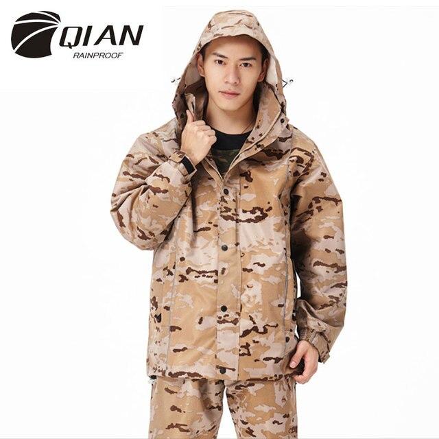 QIAN RAINPROOF Professional Outdoor Raincoat Thicker Heavy Water Gear Hiddenhat Fashionable Sportswear Waterproof Rain Gear