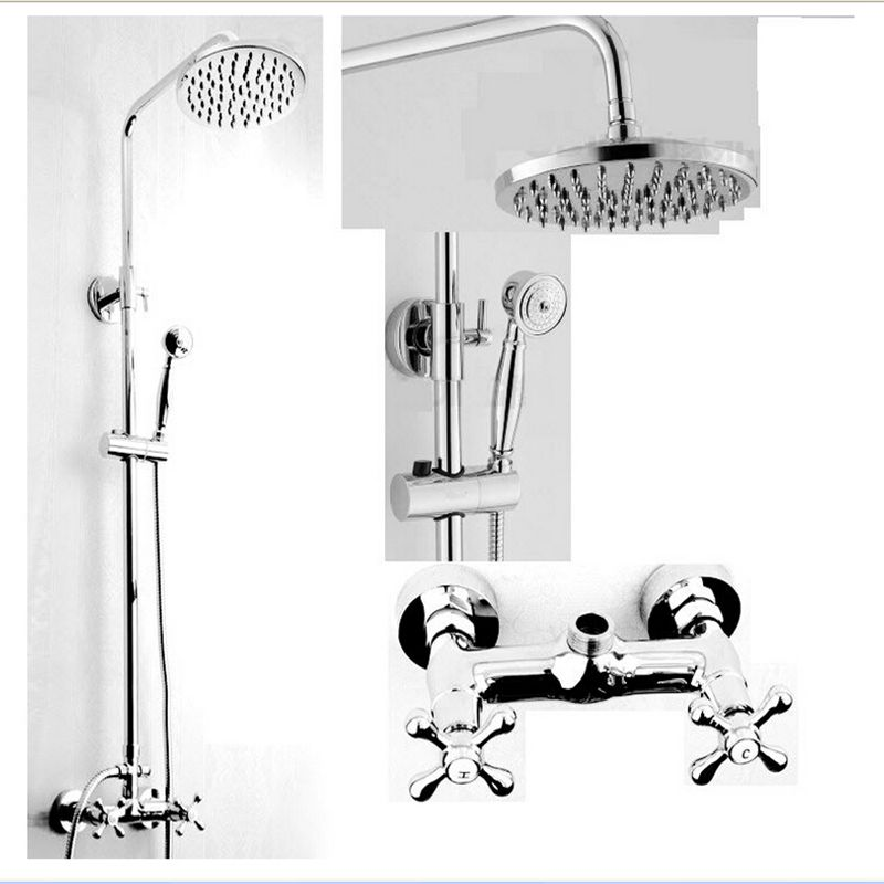 Wholesale And Retail Polished Chrome Rain Shower Faucet 8 Round Shower Head Dual Cross Handle Shower Column Mixer Tap Valve wholesale and retail wall mounted thermostatic valve mixer tap shower faucet 8 sprayer hand shower