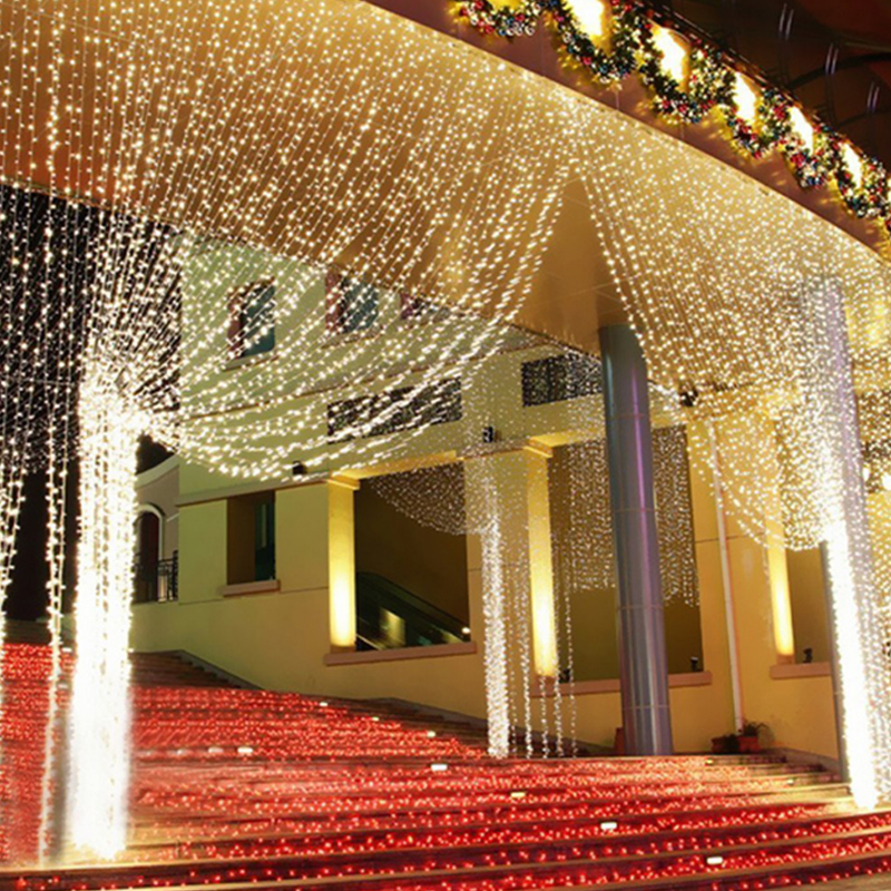 все цены на 4.5M x 3M 300 LED Icicle String Lights Christmas Fairy Lights new year xmas Home For Wedding/Party/Curtain/Garden Decoration онлайн