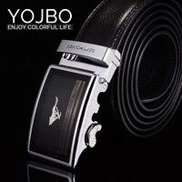 YOJBO 100 Real Genuine Leather Men Belt 2017 Fashion Brand Designer Black Automatic Alloy Buckle Straps