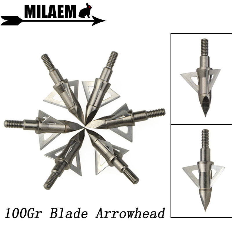 12pcs Points Target 100-200gr Broadheads Archery ID4.2mm Arrowheads Tips Hunting