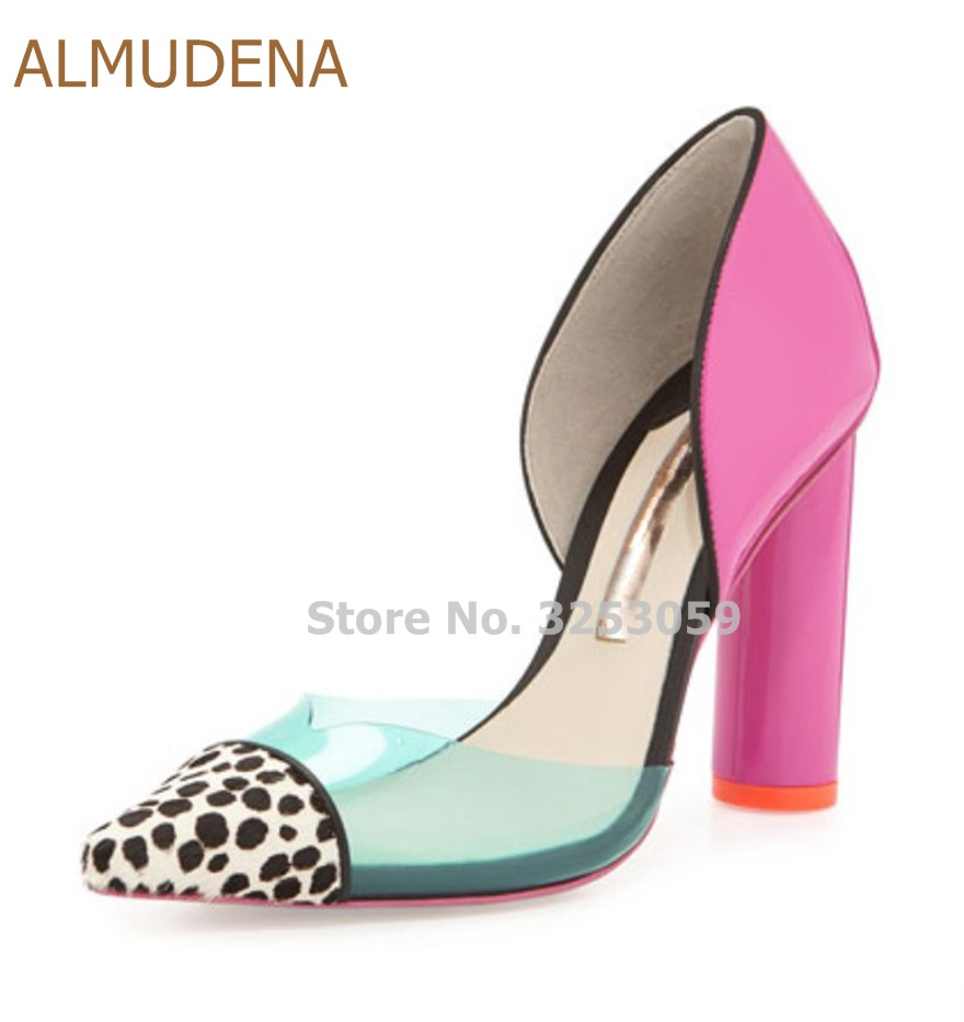 ALMUDENA Gorgeous Sweet Style Pink Chunky Heels Leopard Pointed Toe Pumps Nice Transparent PVC Patchwork Thick Heel Dress ShoesALMUDENA Gorgeous Sweet Style Pink Chunky Heels Leopard Pointed Toe Pumps Nice Transparent PVC Patchwork Thick Heel Dress Shoes