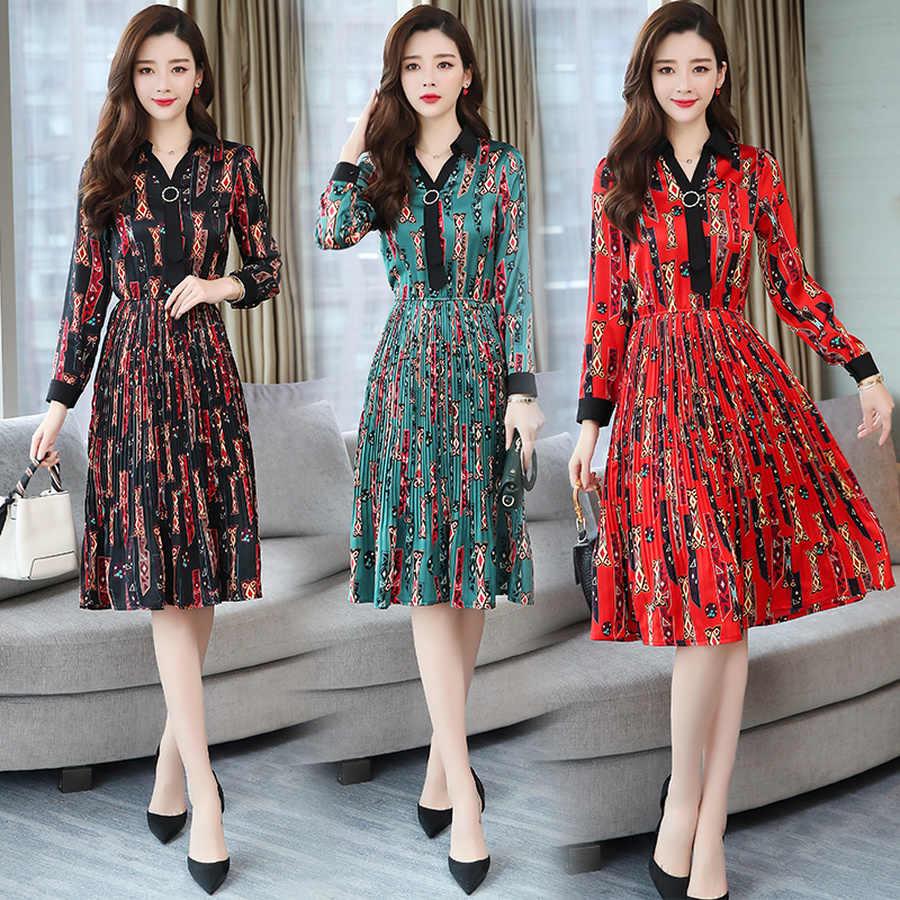 Осень зима 3XL плюс размер офисное дамское платье 2019 винтажное платье с длинными рукавами и принтом миди элегантные женские облегающие вечерние платья