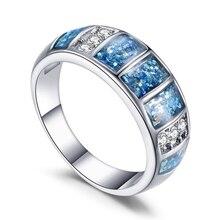 52415972dea2 Nuevo anillos de ópalo joyería fina anillos para mujer azul ópalo de fuego  de plata de boda anillo de compromiso 2019