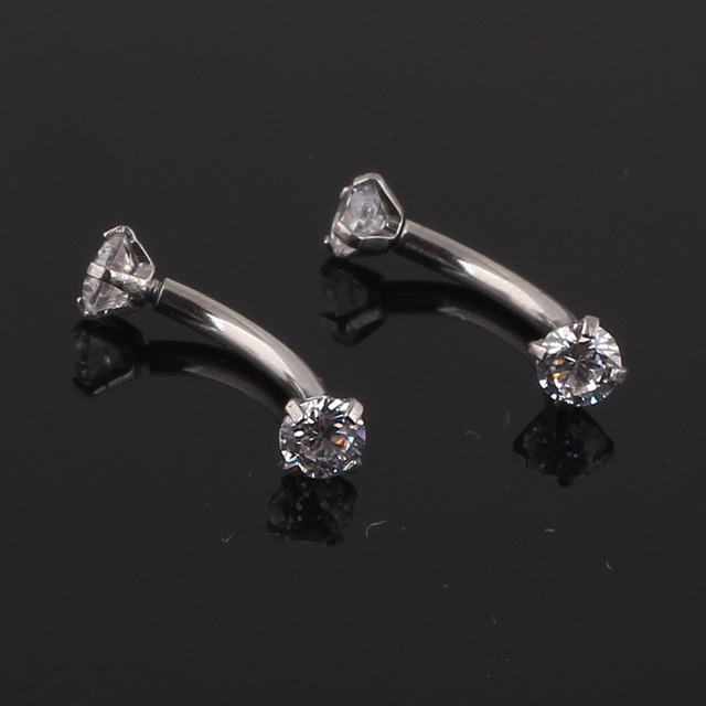 Tragus Earring Internally Thread Cubic Zircon Stainless Steel Curved Barbell Piercing Eyebrow Ring Body Jewelry 1