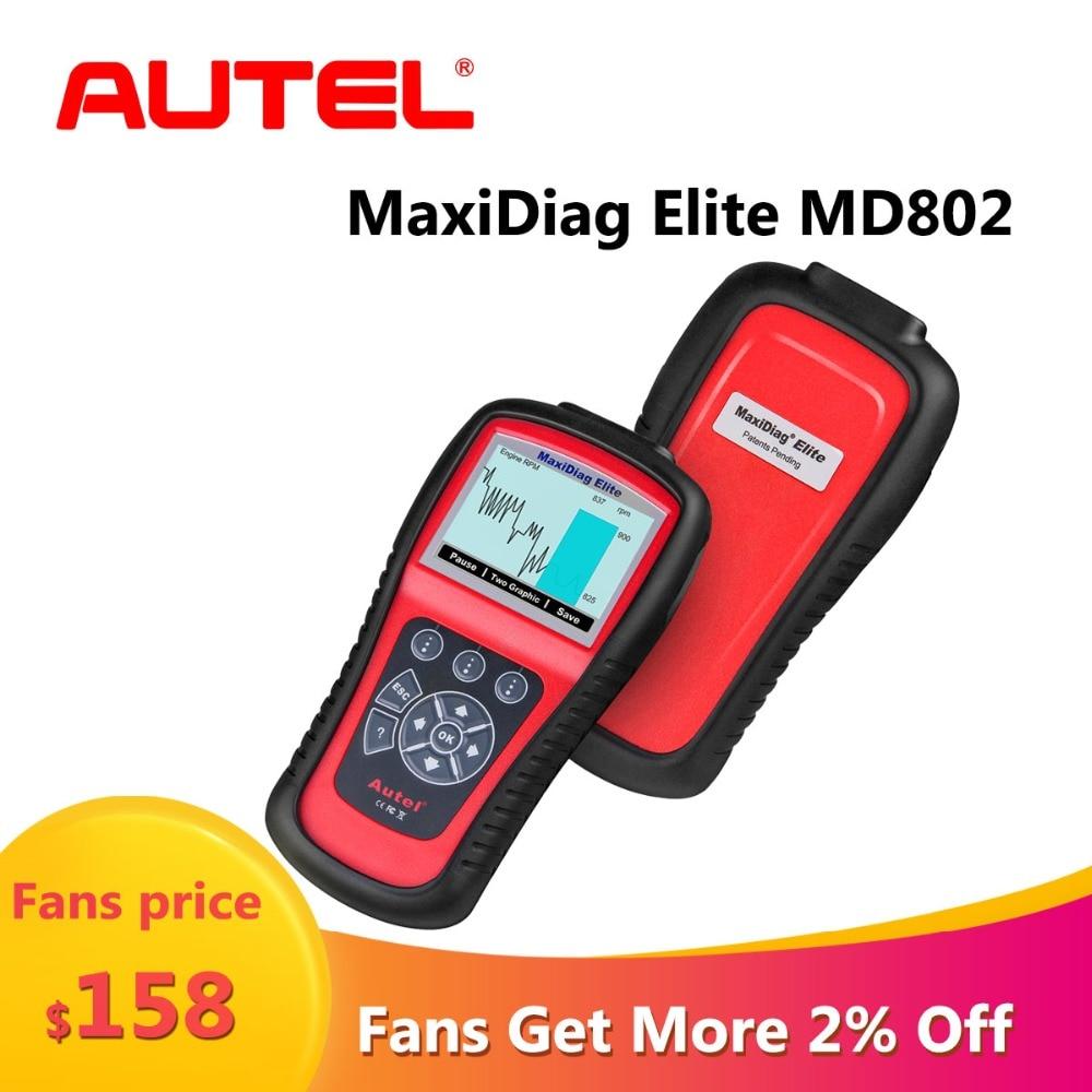 Autel MaxiDiag Elite MD802 OBD2 Scanner Car Diagnostic Tool Code Reader Engine ABS Airbag SRS Engine EPB Automotive Code Reader