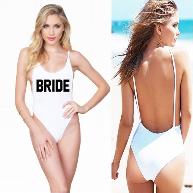 497ed33d286 Sexy Swimwear Women BRIDE One Piece Swimsuit Backless String High Cut  Bodysuit 2019 Beachwear Lady New Letter Bathing Suit maio