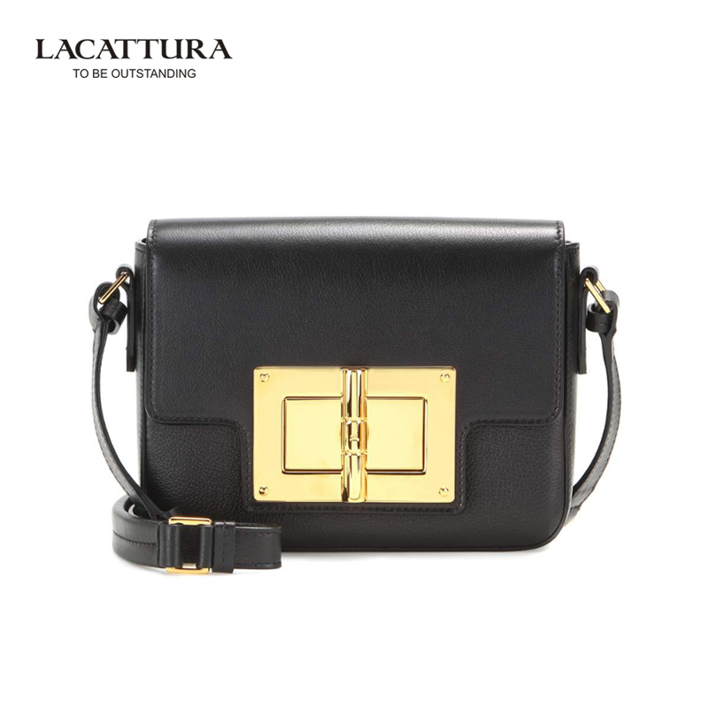 A1329 2017 LACATTURA Brands small cow leather flap Lady's Classic bags with chai
