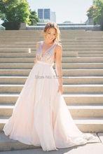 Flowing Nude Pink Bridesmaid Dresses Sexy v neck shiny sequined Floor Length honor of maid dress vestidos de festa