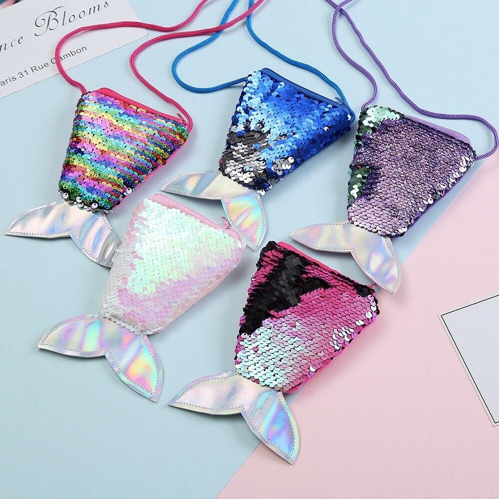 Women Mermaid Tail Sequins Pailette Girls Bag Fashion Cute Plush Bag Purse-Bag Crossbody Cartoon Bags Pouch For Girls Kids Gifts