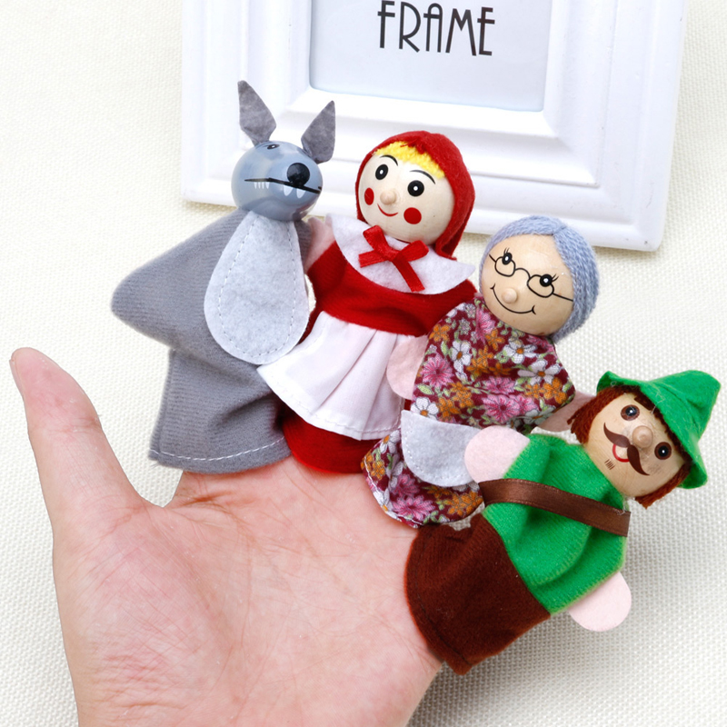 4Pcs Little Red Riding Hood And Wolf Fairy Story Play Game Finger Puppets Toys