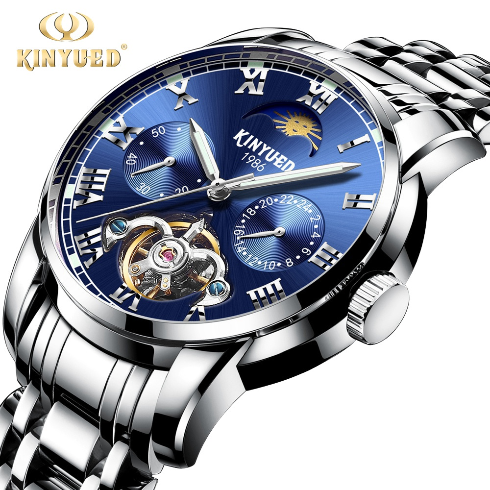 Kinyued Skeleton Tourbillon Mechanical Watch Automatic Men Classic Blue Dial Stainless Steel Mechanical Wrist Watches J028G-1Kinyued Skeleton Tourbillon Mechanical Watch Automatic Men Classic Blue Dial Stainless Steel Mechanical Wrist Watches J028G-1