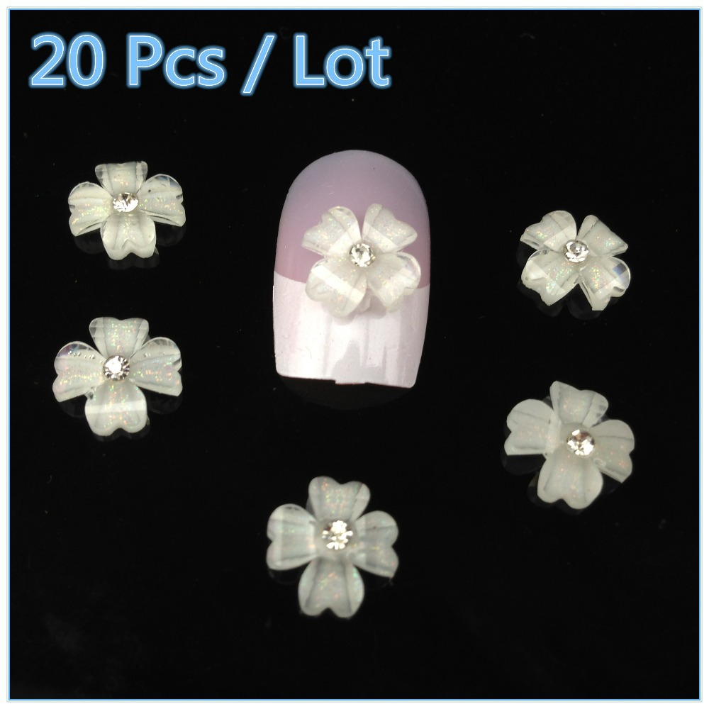 20Pcs 3D White Flower Manicure Glitters Stickers Beads Nail Art Tips DIY Decorations + Free Shipping (NR-WS62)