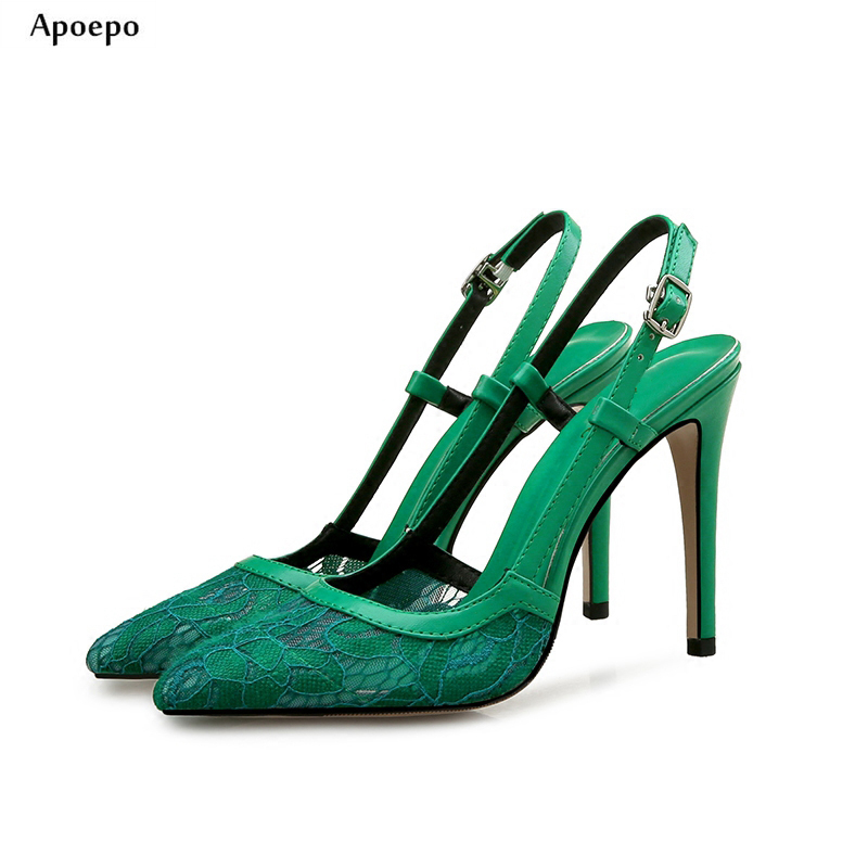 Apoepo 2018 Newest Pointed Toe High Heel Shoes Sexy Lace Cutouts Woman Pumps Buckle Strap Thin Heels Dress Shoes newest solid flock high heel pumps woman