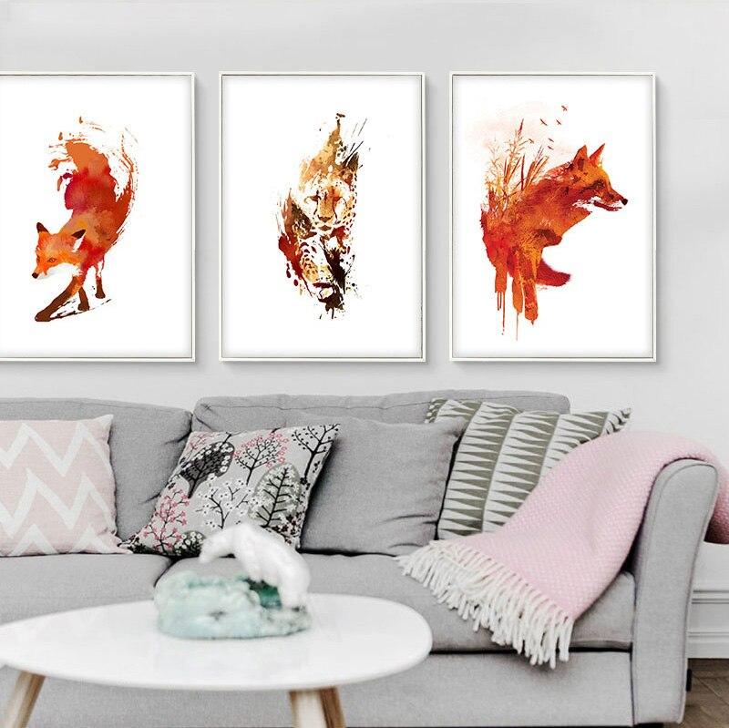 Top Aquarelle Animal Renard Lion Moderne Dessin Photos Abstrait  TW62
