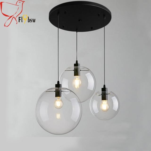 3 heads modern brief glass ball pendant lampclear glass hanging 3 heads modern brief glass ball pendant lampclear glass hanging lamp suspension for dining aloadofball Images