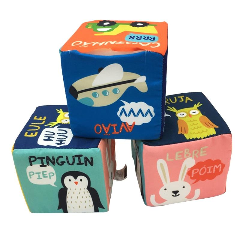 Kūdikių audinio statybiniai blokai Minkšti ugdymo žaislai Karikatūrinis automobilis Kawaii gyvūnai Plush statybinis blokas Naujas spalvingas kūdikių griovelių žaislas