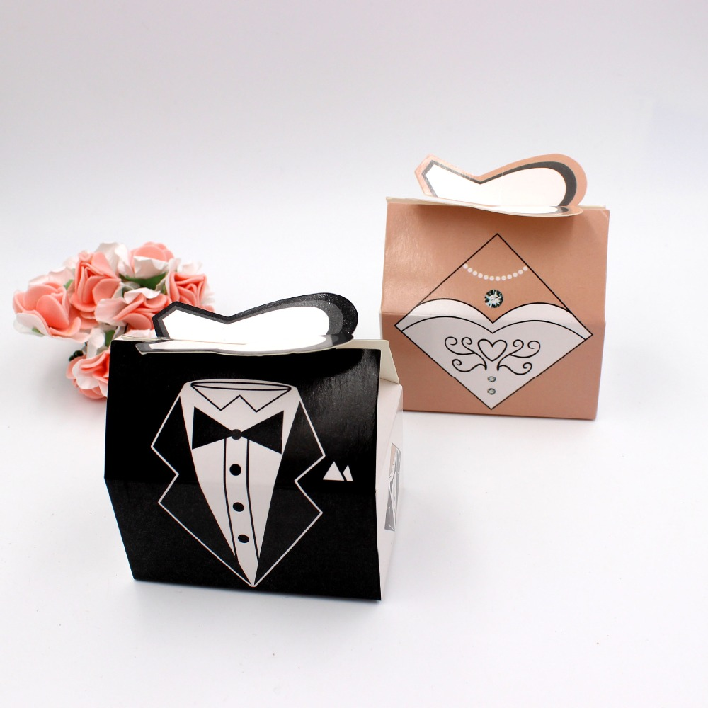 100Pcs Wedding Decoration mariage casamento Bridal Gift Cases Groom Black Pink Gown Ribbon Wedding Favors Candy Box Sugar Case