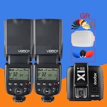 2 * Godox V850II GN60 w/Batteria Li-Ion 2.4G Wirless Sistema X Speedlite Flash + X1T-N Trigger Trasmettitore for Nikon