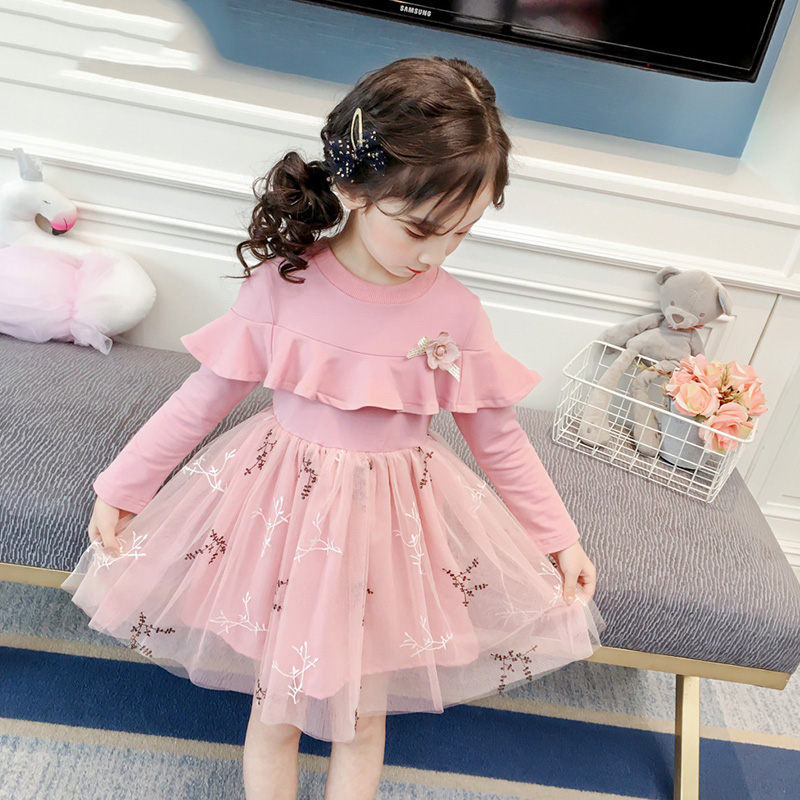 HTB1800CUbvpK1RjSZFqq6AXUVXaF Melario Girls Dresses Fashion Kids Girl Dress Printing Long Sleeve Princess Dress Casual Kids Dresses Floral Children's Clothing