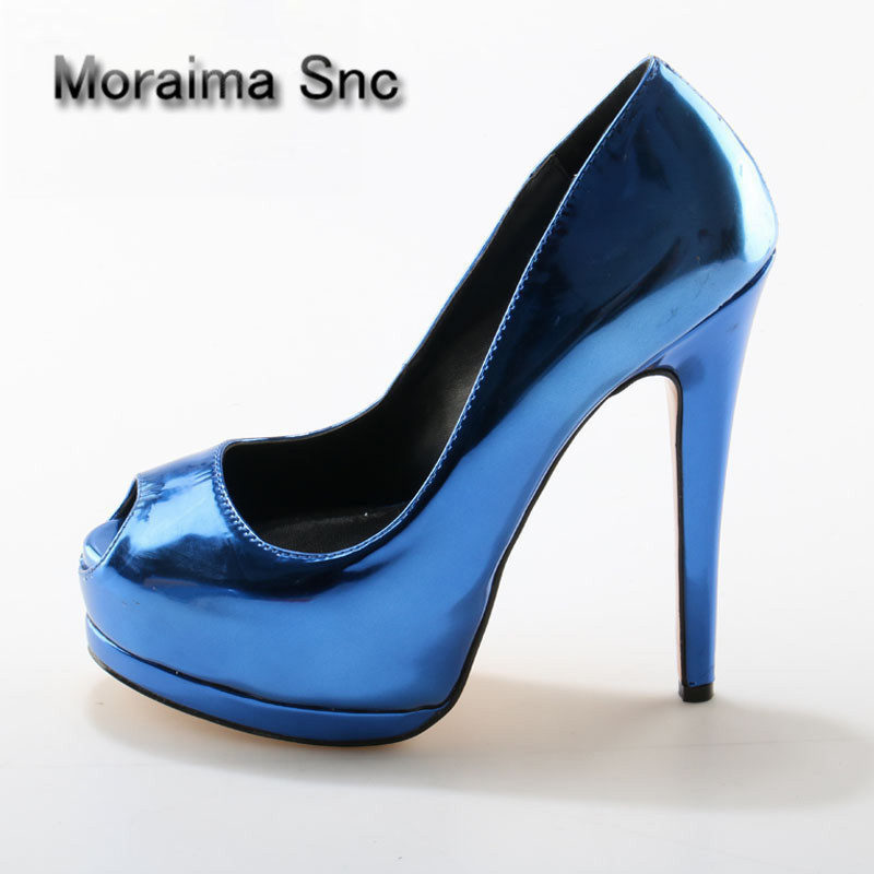 Moraima Snc Brand Shiny Leather peep Toe Pumps Women Sexy Ladies High Inside Platform Shoes High Heels shoes Female Night Club luxury brand shoes women peep toe