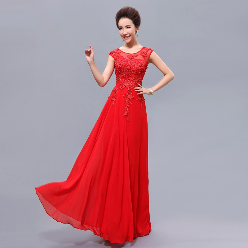 Cheap long red bridesmaid dresses with beading elegant for Elegant wedding party dresses