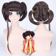 Mumei Cosplay Wig With Ponytails Synthetic Hair KABANERI OF THE IRON FORTRESS Halloween Costume Dark Brown Party Wigs For Women цена