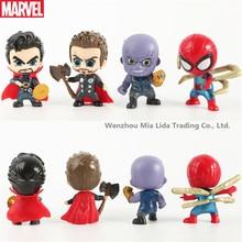 Hasbro Avengers 8pcs/set Alliance 4 Spider-Man Thanos Thor Star-Lord Q Edition Cake Decorative Puppet Hand Doll