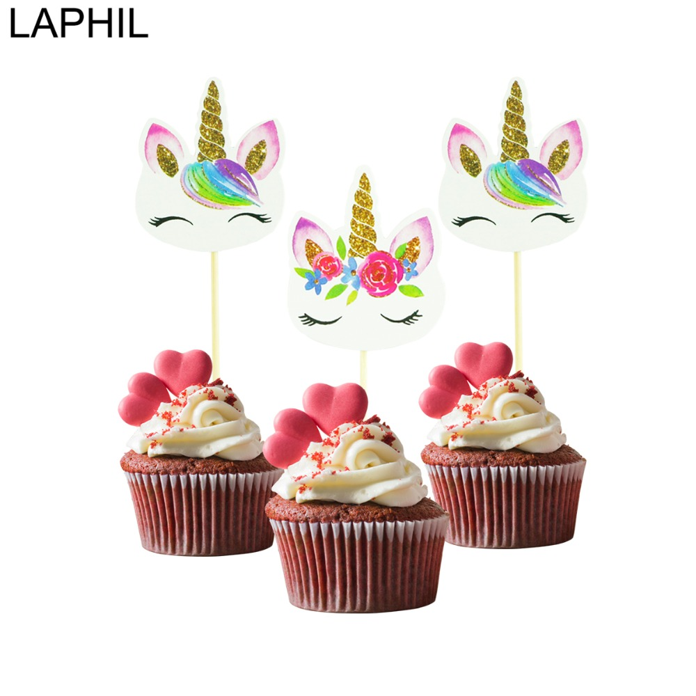 Laphil Birthday Party Decorations Unicorn Cake Topper Cupcake