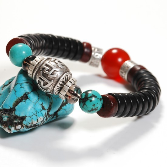 Takı ve Aksesuarları'ten Kordon Bilezikler'de El yapımı Tibet Gümüş OM Boncuk Bilezik Tribal Boncuklu Bilezik Hindistan Cevizi Kabuğu Boncuk Bilezik'da  Grup 1