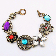 Women's Vintage Bracelet with Colorful Crystals