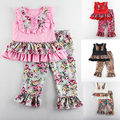 2016 Mickey New Summer Girls Floral Ruffle Suit Children's Cute Set Baby Clothing Sets Sleeveless Tops+trousers Kids Clothes