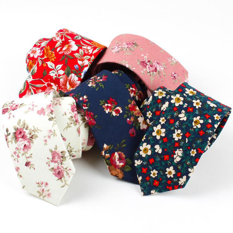 RBOCOTT Floral Ties Men's Cotton Tie 6cm Necktie Blue Red Slim Tie Casual Skinny Neck Ties For Men Party Wedding Accessories