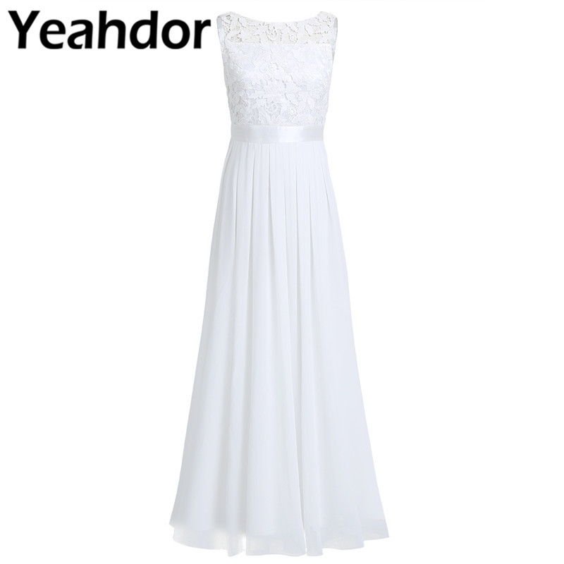 Wedding Bridal Dress Women Ladies Sleeveless Lace Embroidered U back Chiffon Bridesmaid Dress Long Party Pageant Formal Dress