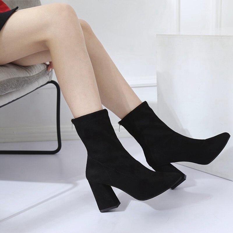 COOTELILI Fashion 8.5cm High Heels Ankle Boots For Women Black Autumn Winter Shoes Women Zipper Pumps Ladies Boots 35-39 (8)