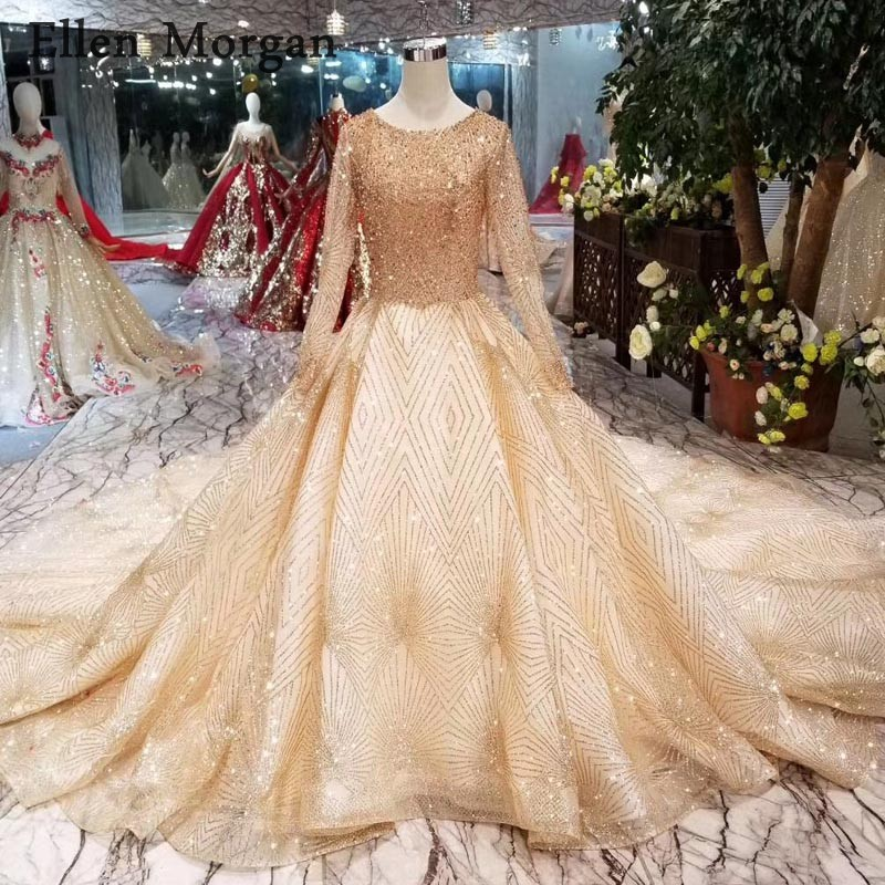 Glitter Wedding Gowns: Luxury Glitter Gold Wedding Dresses 2019 Boat Neck Lace Up