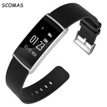 SCOMAS Último pulsómetro BT4.0 pulsera Inteligente 0.96 pulgadas de pantalla táctil inteligente reloj pulsera pulsera rastreador de fitness