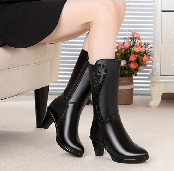 ФОТО 2016winter new women genuine leather winter boots, warm repair legs wool lined female snow boots, fashion locomotive boots women